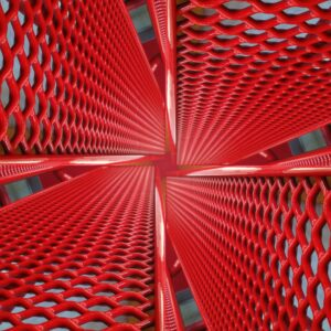 Collage of a red bench makes for a fun abstract.